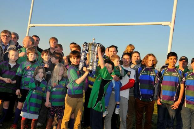 Sports fans welcome Six Nations trophy to Mitcham Rugby Club