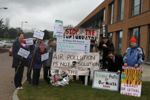 Campaigners staged a protest at Viridor's Kent HQ