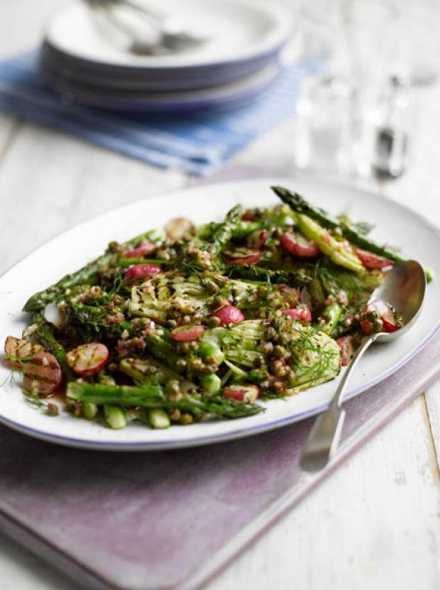Recipe: Grilled Radishes, Fennel and Asparagus Salad with a Caper Dressing