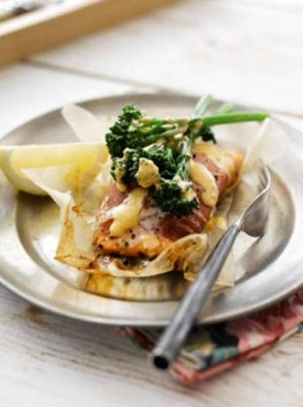Recipe: Lesley Waters Tenderstem Broccoli and Salmon Parcels With Spicy Moroccan Butter Sauce