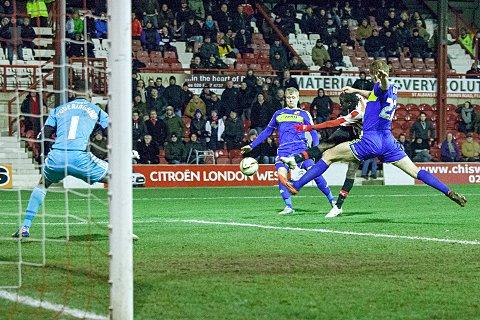 BANG: Clayton Donaldson turns the scoreline on its head with the winner over Swindon on Tuesday night     BT74691