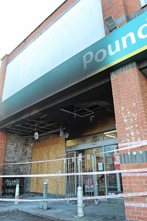 The scene at Poundland after a fire on December 11