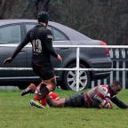 On the way: Nev Edwards goes over for one of Park's four tries. Credit David Whittam