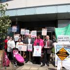 Protestors outside the CCG meeting