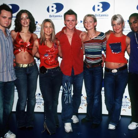 S Club 7 in their heyday - Paul (far left), Jo (second from right) and Bradley (far right) will switch on Sutton's lights