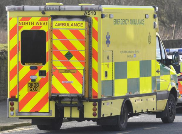 An elderly woman has been taken to hospital by ambulance for treatment.