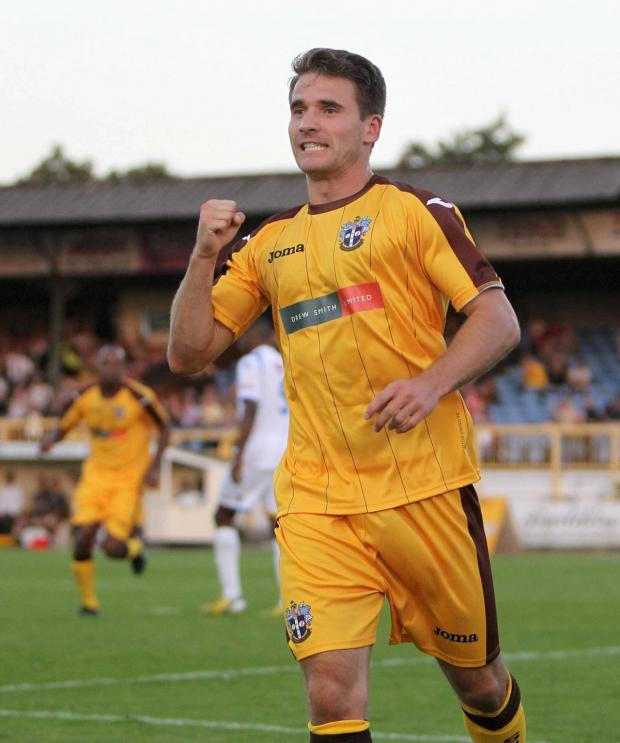 Sutton Guardian: Sutton United player Jamie Taylor celebrates a goal at Gander Green Lane