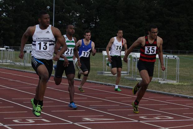 Fast man: Oweka Wanogho, on the left, was the third fastest over 60m in the first South London Athletics Network Open meeting