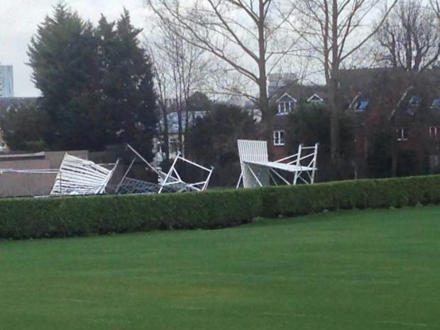 Sutton Guardian: The damage to Sutton Cricket Club's sight screens
