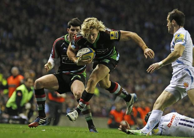 Up and running: Quins centre Matt Hopper was impressive in the Big Game Six win over Exeter Chiefs at Twickenham stadium in December