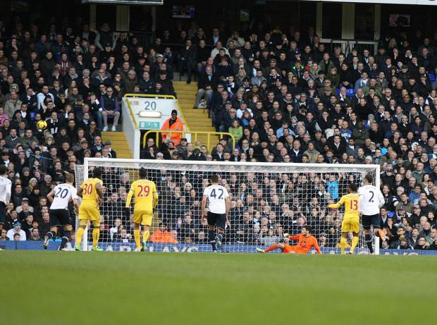 Sutton Guardian: Puncheon misses the penalty against Spurs