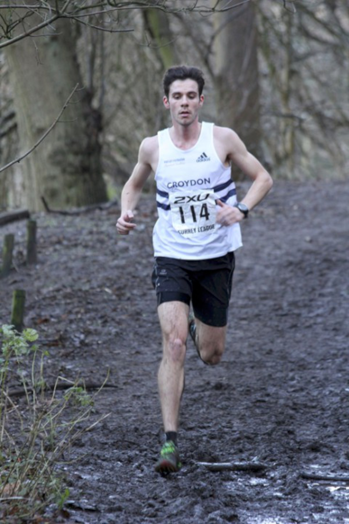 Leading from the front: David White brought the Harriers team home at Reigate on Saturday                    All pictures