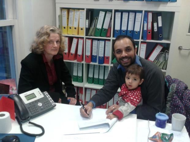 Sue Willman of Deighton pirece Glynn with Shasha Khan and his daughter Clara