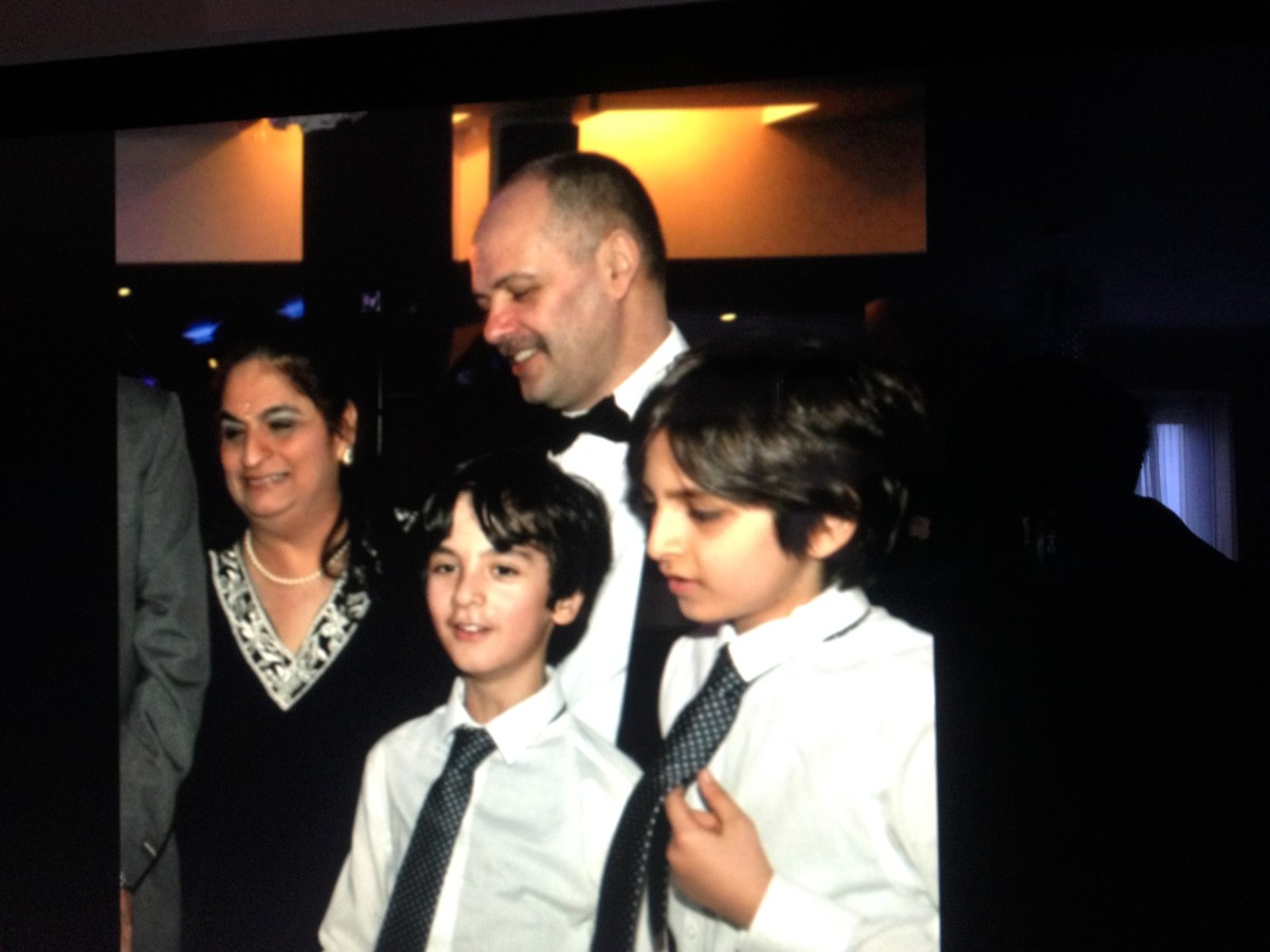 Andrew Iacovou with his wife Anita and two of his three sons