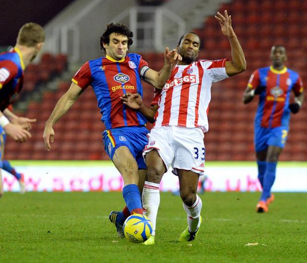 Team-mates: Mile Jedinak and Cameron Jerome battle it out in the FA Cup when Palace went to Stoke City, at the time under the leadership of Tony Pulis