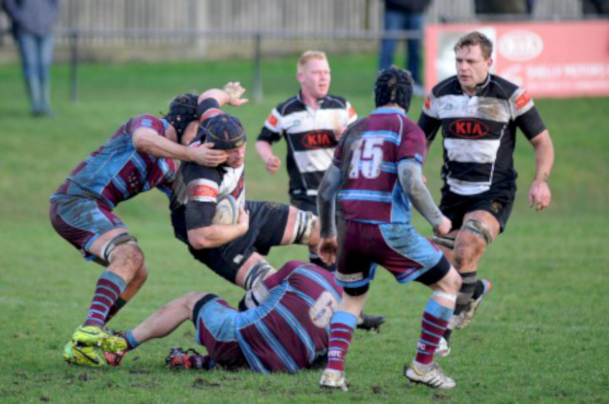 Battle: Sutton & Epsom's Mike Blakeburn is tackled during the 22-10 defeat to neighbours Wimbledon                             Pictures: Ben Mole/Sutton & Epsom RFC