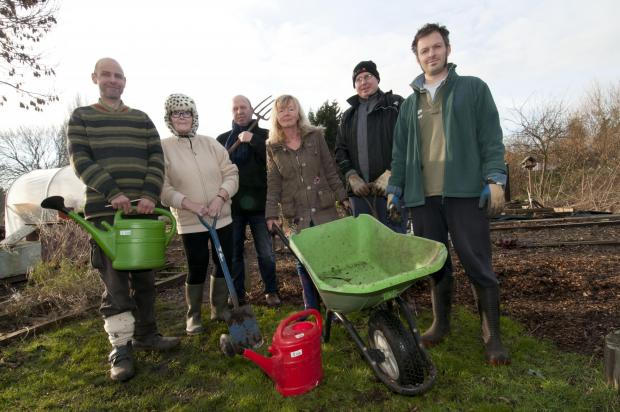 Simon Honey, Rosie Redpath, Wendy Hudson, Paul McLetchie, Clive Marcus, Julie Verrill, Nicholas Smith at the allotment on Monday