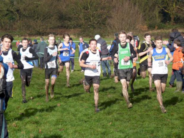 Tough day: Omar Harhara in action in the U15s South of England Cross-Country Championships