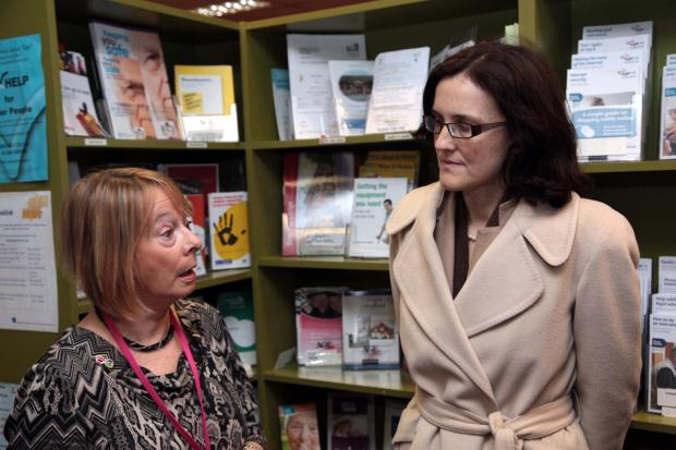 Theresa Villiers with Marion Harper of Age UK Sutton