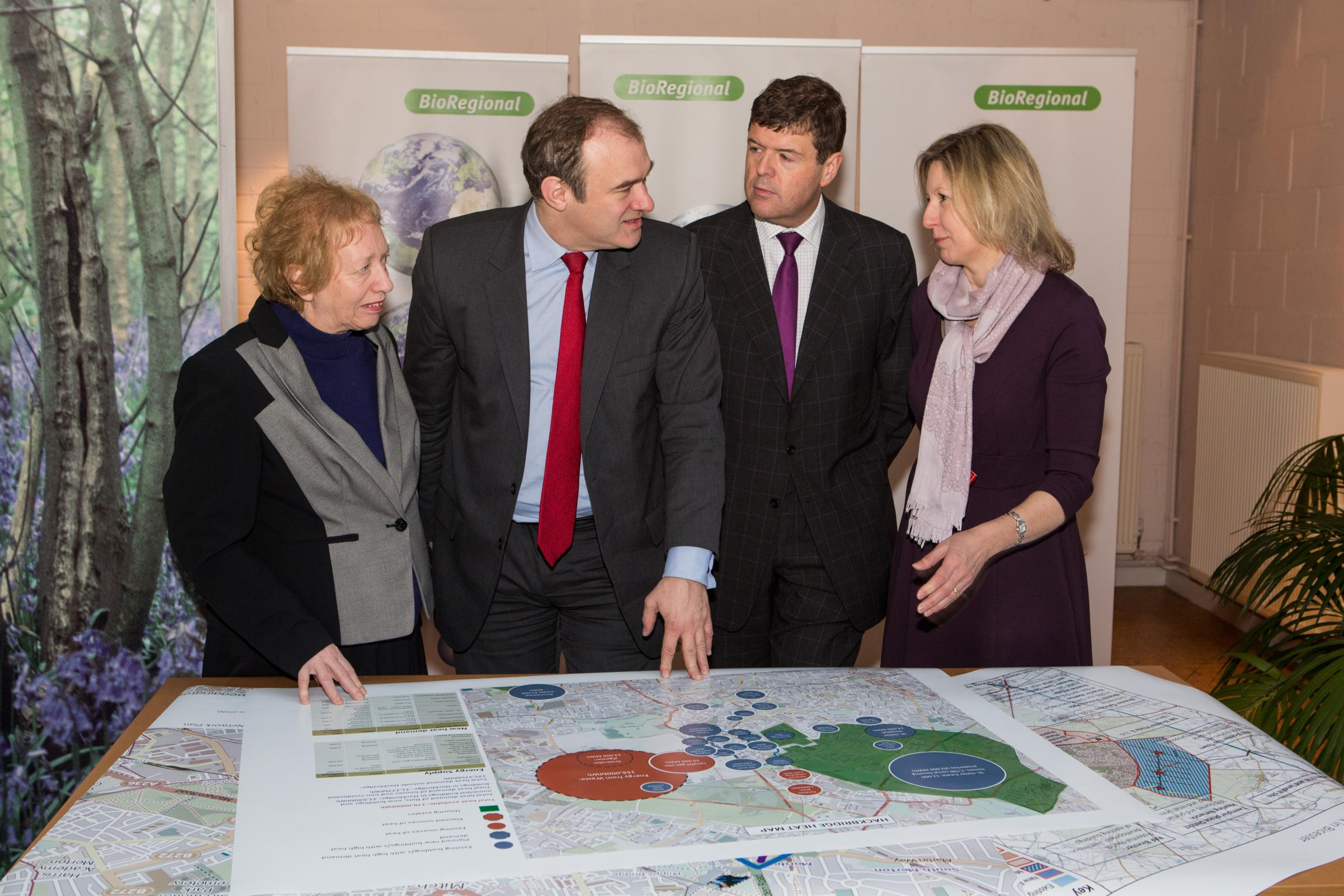 (left to right) Coun Jill Whitehead, Edward Davey MP, Paul Burstow MP and Coun Jayne McCoy discuss the plans
