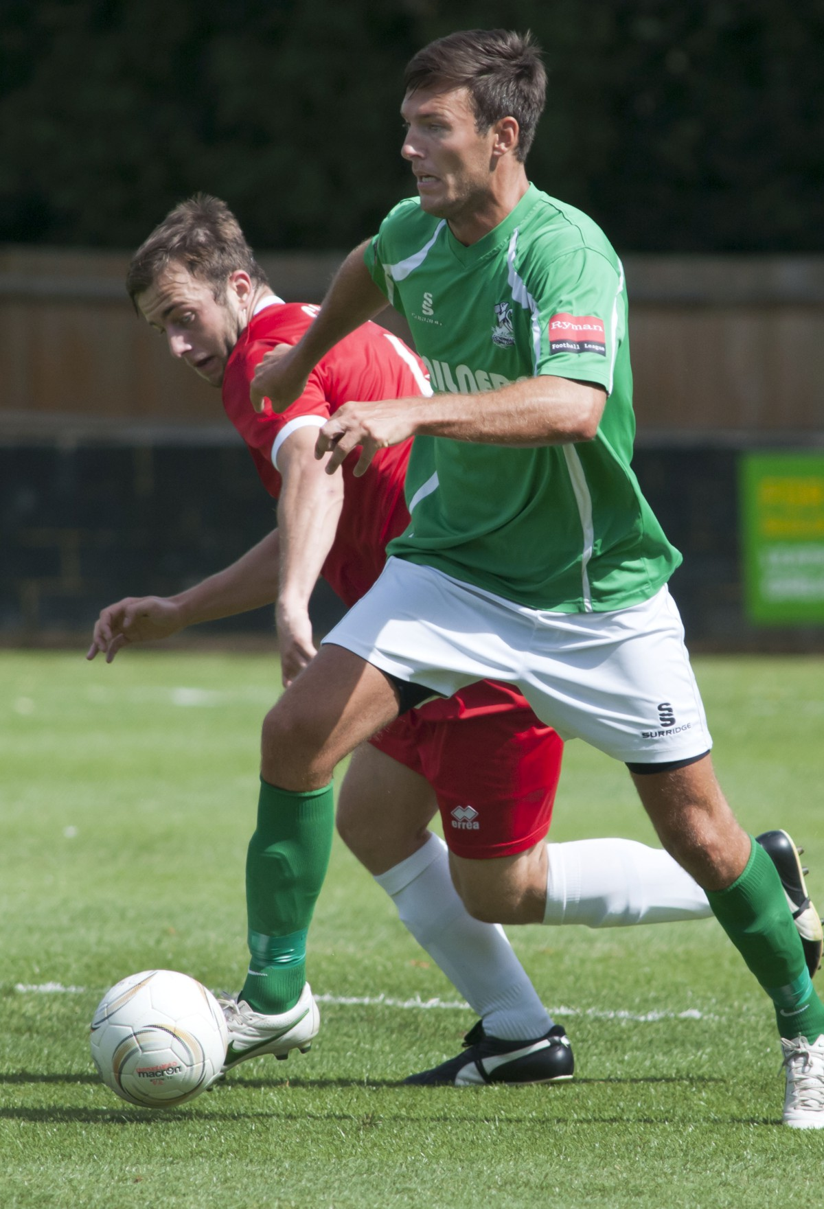 Heads up: Jamie Coyle nodded home the winner for Leatherhead at Tooting & Mitcham on Saturday