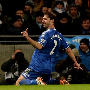 Branislav Ivanovic celebrates after scoring the winner