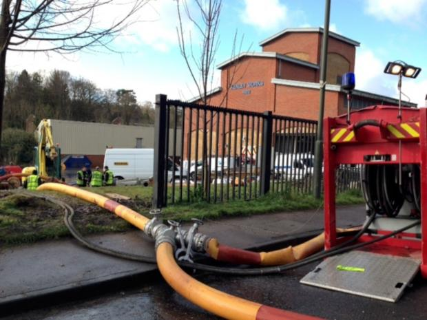 Sutton Guardian: Firefighters are at the Kenley water treatment works in Godstone Road