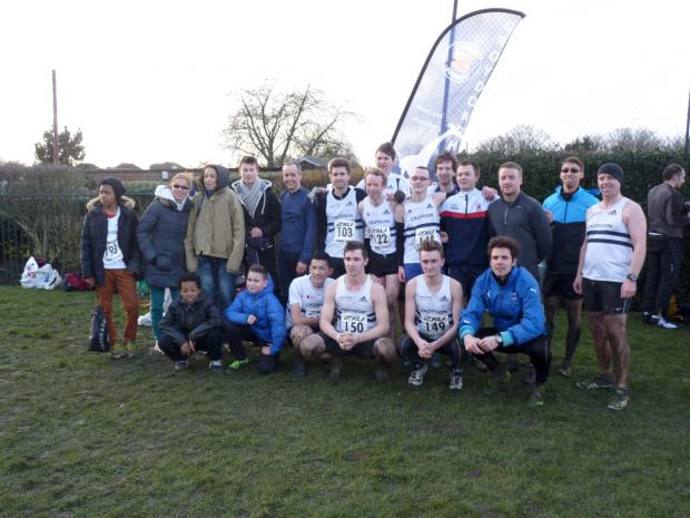 Winners: Croydon Harriers men finished second overall to win promotion to the top flight of the 2XU Surrey cross-county league