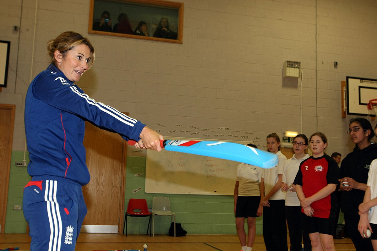 Ashes winning skipper drops in on Coombe Girls's School