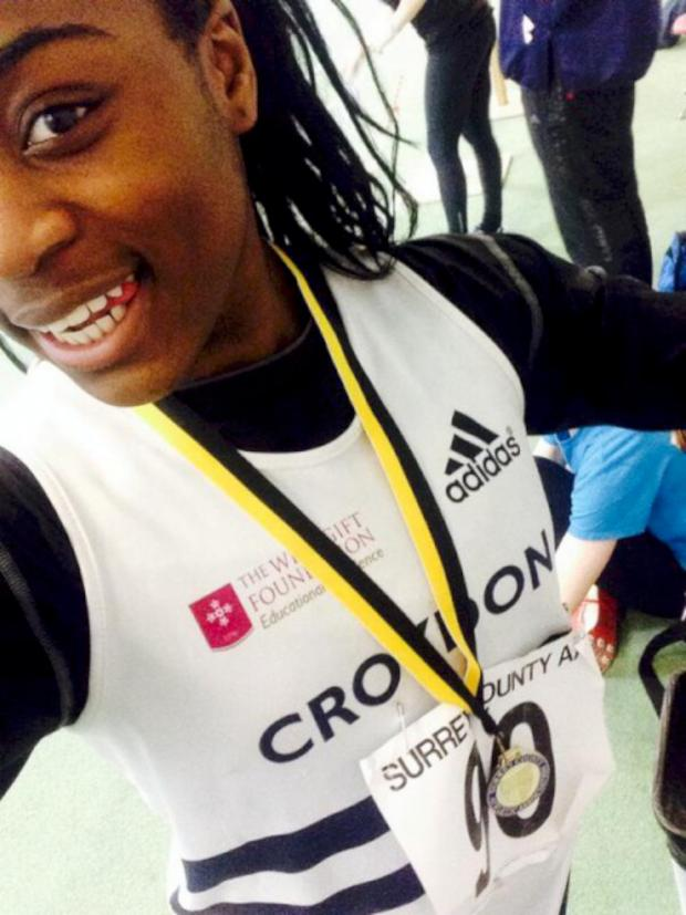 Sutton Guardian: Golden girl: Ines Zepa win the U15 shot putt