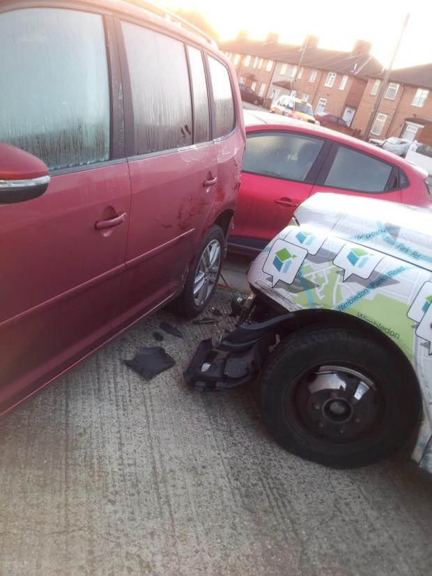 Sutton Guardian: The taxi crashed onto Mrs Crossby's driveway and into her car