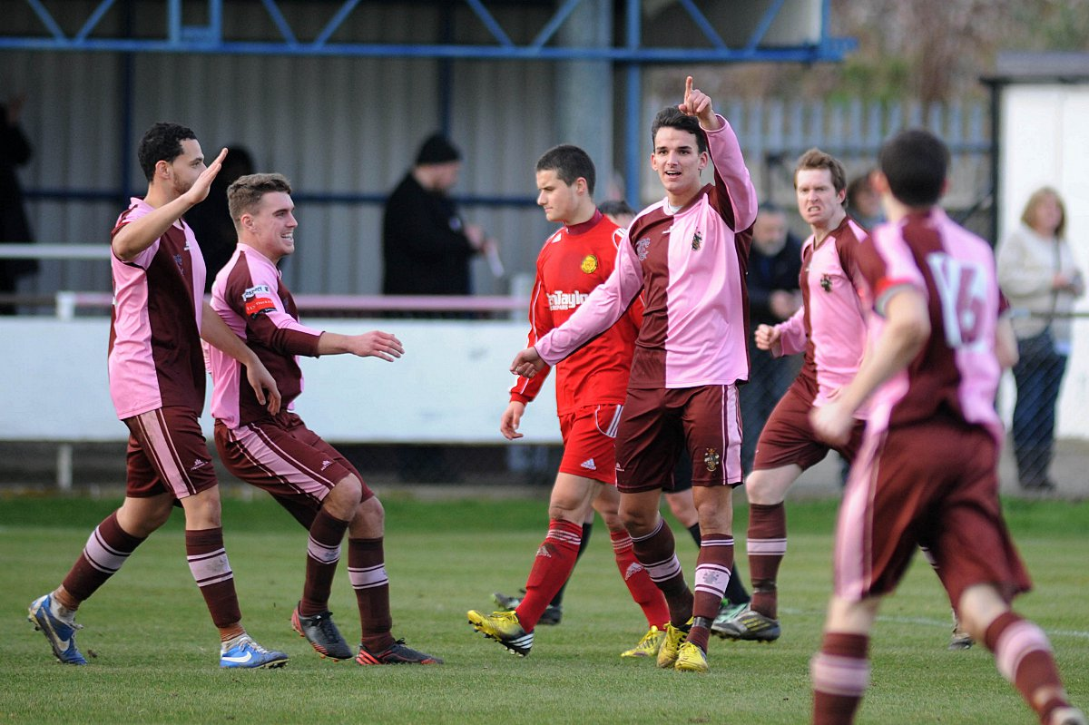 Consolation: Pico Gomez enjoys his goal for Corinthian Casuals, but it was not enough in a 3-1 defeat against Merstham