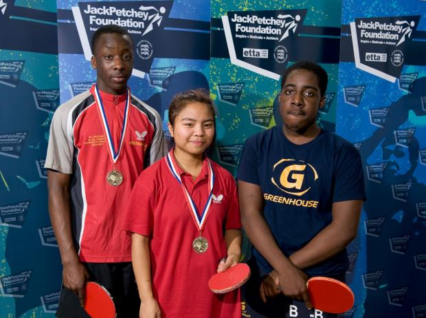 Table tennis medalists: Raphael Lawanson, Jessica Monis and Benjamin Smith-Bortley