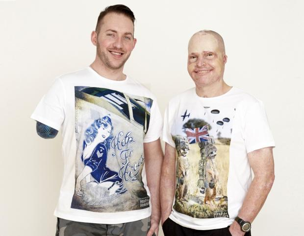 War veterans Jamie Hull and Dan Richards model two of the new T-shirts
