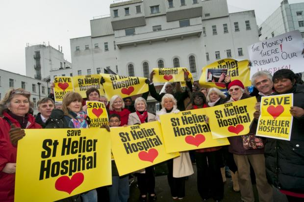 Campaigners outside St Helier Hospital