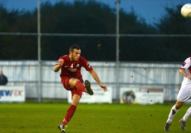 Seeing red: Matt Males was sent off in the dying moments of a 3-2 defeat at Canvey Island