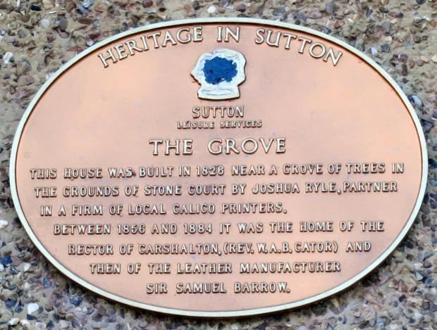 The plaque at the Grove in Carshalton