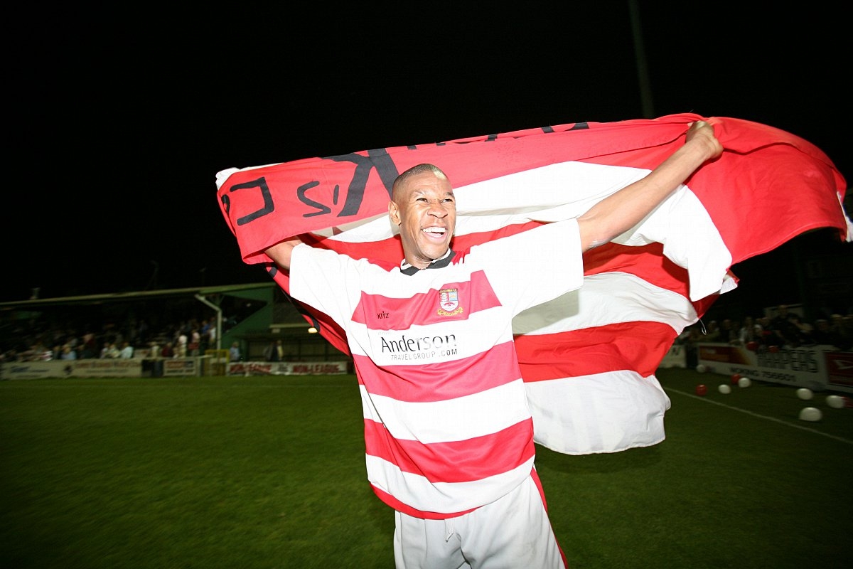 Good times: Ex-Ks striker Tony Reid won the Surrey Senior Cup under Ian MacDonald in 2006