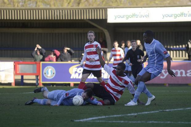 Sutton Guardian: Crumbling: Kingstonian's latest league outing ended in a 2-0 home defeat to Billericay                SP81835