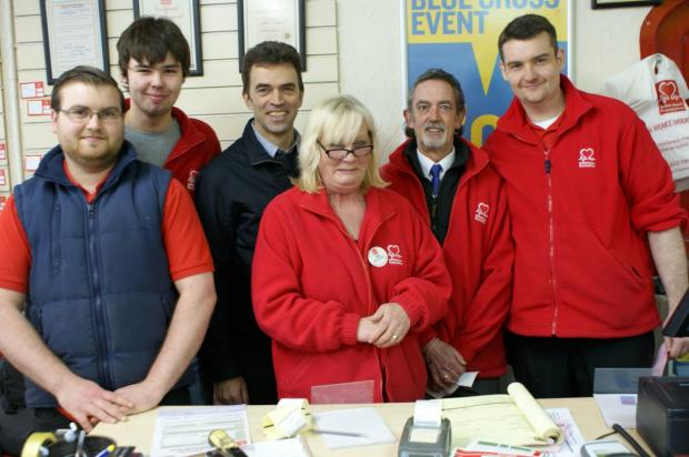 Tom Brake, third from left, visits Wallington's British Heart Foundation stores