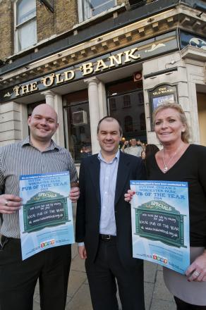 Paul Scully (centre) launched his pub competition at The Old Bank in Sutton with Rob Wheatley and Gail Follin
