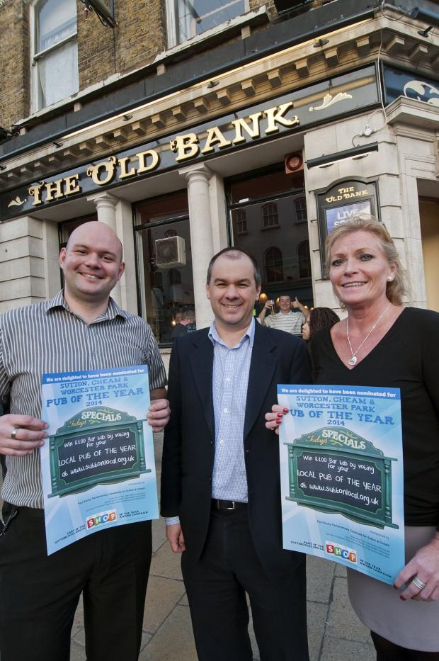 Sutton Guardian: Paul Scully (centre) launched his pub competition at The Old Bank in Sutton with Rob Wheatley and Gail Follin