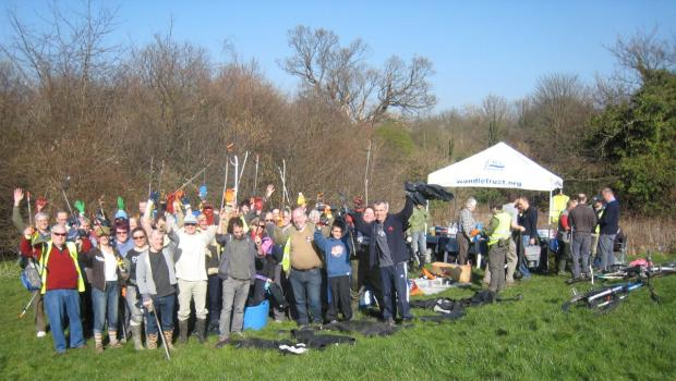 The volunteers enjoyed a sunny day as they cleared the Wandle