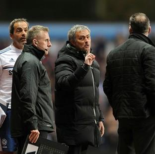 Sutton Guardian: Jose Mourinho, centre, was sent to the stands in the dying stages