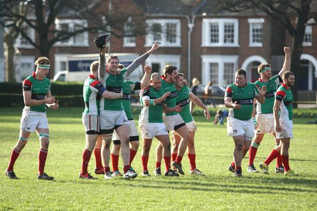 You beauty: Battersea Ironsides celebrate victory in the London final of the RFU Junior Vase.... now for a shot at Twickenham                 All pictures: SP83603