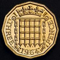 Sutton Guardian: The reverse side of a 12-sided three-pence piece which was in circulation from 1937 until decimalisation in 1971 (PA/HM Treasury)