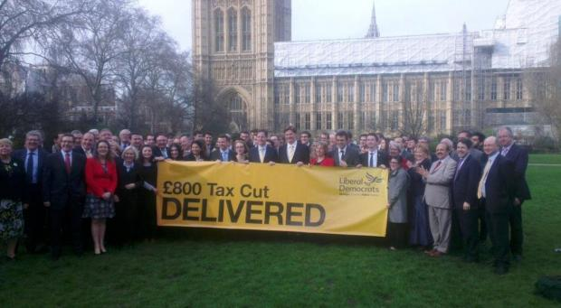 Liberal Democrat MPs outside the House of Commons after today's Budget statement. (Twitter / Lib Dem press office)