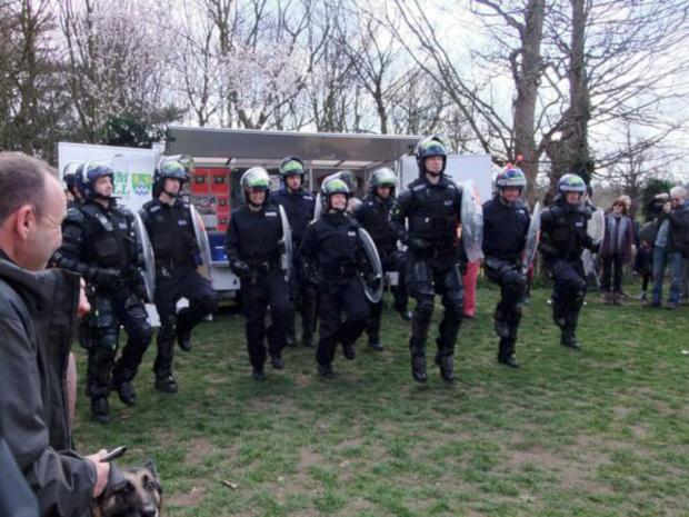 A team of public order officers warm up. Photo: Morgan Knight