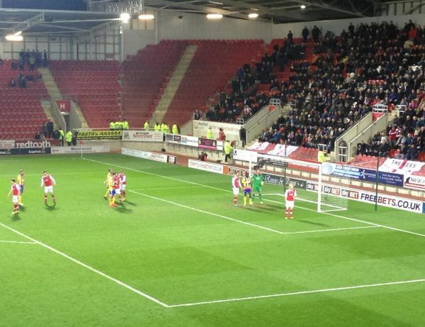 Thanks for coming: Brentford wait for a corner in front of 575 travelling fans at Rotherham United on Tuesday