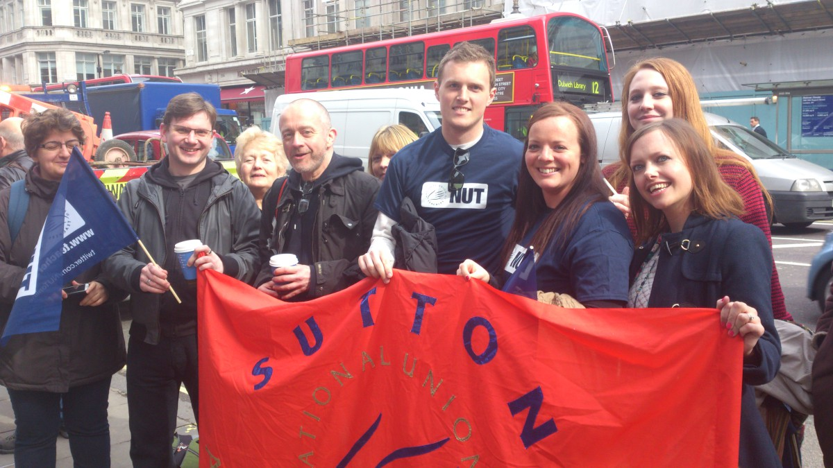 Sutton teachers on strike taking part in a march in central London